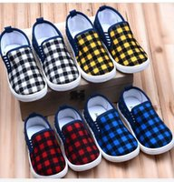 elastic band for shoes - Kids Shoes for Girl Rushed The Newest Style Korean Version Children Canvas Shoes Elastic Band Plaid Kids Colors Sneakers