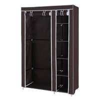 Wholesale On Sale Clothes Closet Portable Wardrobe Storage Organizer with Shelves Dark Brown