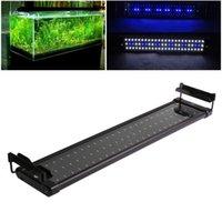 11W аквариум Fish Tank Света переменного тока 110 ~ 240V SMD светодиодные лампы завод Clip-на регулируемые 50-70см 2 режиме 60 белый + синий светодиод 12 шариков порядка $ 18no трека