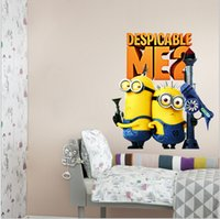Wholesale AAA quality CM kid boy girl baby minnions bedroom setting wall stickers removed creative home decoration christmas gift topB1476