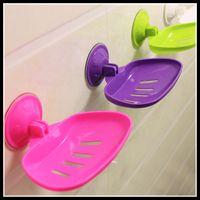 Wholesale Multi Sucker Soap Dishes Soap Holder Colors Draining Soap Box Aspirating Sucker Free Mobile Soap Dishes Fashion Bathroom Accessories
