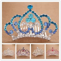 Wholesale Hot Girl Shining Diamond Princess Headwear Crown Hair comb hoop inserted comb type Girls Head Pieces Alloy crown Girl Small Christmas Gift