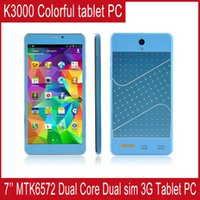 Wholesale New Arrival Tablet PC MTK6572 Dual Core Dual Sim tablet pc MB RAM GB ROM Android Colorful Phone call G Tablet PC