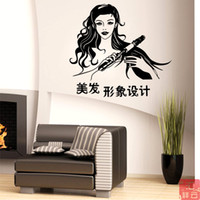 bedroom image - Fashion modeling image design barber shop window decoration stickers hairdressing shop glass door wall stickers