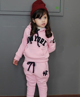 Wholesale Three Kids New Arrivals Fashionable Clothing Sets Girls NEW YORK Letters Embroidered Hoody Kids Cotton Long Harem Pants Pink Navy E1813