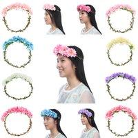 Wholesale NEW FASHION Women Flower Garland Floral Bridal Headband Hairband Wedding Hawaii Girl Head Flower Crown Head Wreaths Hair Accessories SFG4