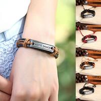 Wholesale 2014 New Handmade Braided Genuine Leather Wrap Inspirational Charm bracelets bangles for Women Men Jewelry P0055