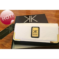 Wholesale 2015 Latest design Authentic kardashian kollection white leather women wallet genuine KK long fashion lady purse
