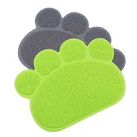 Wholesale PVC Dog Paw Shape Placemat Pet Puppy Cleaning Feeding Dish Bowl Table Mats Wipe Easy Cleaning