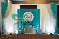 Wholesale Top Sale Cheap Price White Wedding Curtain Backdrops Good Looking With Turquoise Drape And The Sequin Fabric