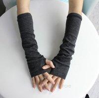 Wholesale Free Ship New Fashion Winter Mitten Warm Unisex Men Women Arm Warmer Fingerless Knitted Long Gloves Mittens Retail BPJ110E