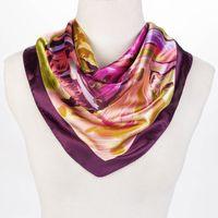art silk scarf - free shiping new scarf women colorful art painting silk scarf square fashion silk bandana ladies scarf shawl