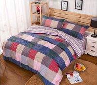 Wholesale 100 Duvet Cover With Pillow Case Plaid Bedding Set Quilt Cover Single Double King Queen