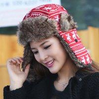 Wholesale female knit snowflake cute deer trapper cap thick warm ear hat ski cap