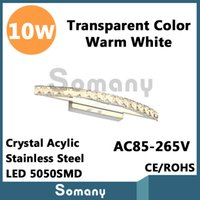 arc wall lamp - 10W Bedside Lamp Wall Sconces Led Arc shaped Crystal AC85 V CE ROHS Warm Cool White Champagne Transparent Color New Style