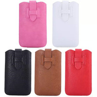 Wholesale Leather Litchi Slim Skin Cover Holster Pouch card slots Bag Case pouches For GALAXY Note N9100 iphone plus Universal quot