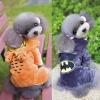 pet fabric - 2016 Garfield Batman Hooded Dog Clothes Coral Velvet fabric Puppy Overalls Pet Suits Winter Warm Clothing