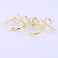 Wholesale tradefun New Fashion Double Two Fingers Rhinestone Anti war Peace Sign Ring Adjustable hours dispatch