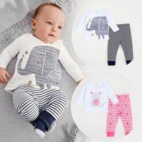 baby elephant costume - 2016 new autumn style baby boy clothes cute elephant cat Long sleeve T shirt pants suit Children clothing set infant costume