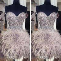 feather cocktail dress - 2016 Sexy Cocktail Party Dress Short Occasion Prom Evening Gown Sweetheart Beaded Crystals Feather Sash Gray Custom Made A Line Mini