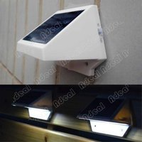 Cheap Solar Power Panel 4 LED Fence Gutter Light Outdoor Garden Wall Lobby Pathway Lamp Cold White#SV002236