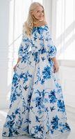 Wholesale 2015 Summer Vintage Women Evening Party Dress Prom Long Chiffon Floor Length Floral Print Strapless Empire Evening Dresses