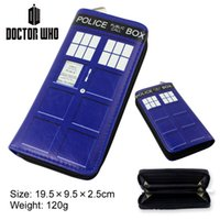 Cheap Anime Cosplay Doctor Who Colored Pattern Cartoon Character Long Section PU Zipper Wallet Anime Clutch Bag X1015