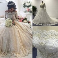 real pearl - Luxury Lace Wedding Dresses with Long Sleeves A Line Sheer Beaded Corset Bodice See Through Cathedral Train Real Bridal Gowns DHYZ