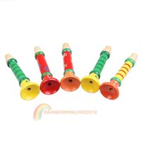 Wholesale 2014 christams product R1B1 Colorful Wooden Trumpet Buglet Hooter Bugle Educational Toy for Kids