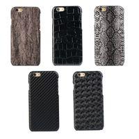 Para Iphone 6 6S Plus para Samsung Galaxy S7 / Edge / Plus serpiente tejida Pieles Fundas de cuero libre de la fibra del carbón de madera dura de la piel cubierta de madera