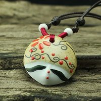 beauty traditions - Hot Delicate Ceramics Clay Tradition Beauty Face Women Necklace Charming Porcelain Painted Necklace Jewelry