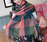 Wholesale fashionable women plaid winter scarf warm female shawl tippet long artificial wool wrap muffler female