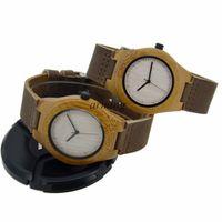 Precio de Gifts-2015 reloj hecho a mano de madera real MADERA minimalista Watch - Hecho de bambú y Cuero Militar padres Correa regalo de boda padrinos de boda Regalos del día