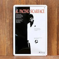 art drawing signed - Al PACINO SCARFACE vintage home decor metal Tin signs decorative plaques for bar wall art craft X30CM SP RW