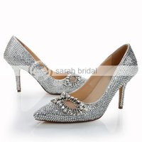 Cheap New Crystal High Heel Wedding Shoes Pointed Toe Pumps Heels 8.5 cm Silver Women Party Prom Evening Bridal Shoes 2015 Wedding Accessories
