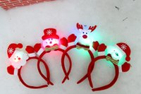 bear ears headband - 2015 new LED light Christmas ear headband and bear Christmas elderly snowman deer stlys Children hair accessories C010