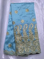 beaded embroidered silk fabric - Embroidered BLUE india george material wrappers yards beaded lace fabric raw silk african lace fabric for Nigerian wedding women dress