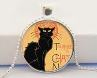 ad circle - Black Cat Art Pendant Vintage Ad Pendant Cat Jewelry Black Cat Necklace