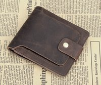 Wholesale New Vintage Crazy horse leather boy s wallet Cowhide men business wallet Genuine leather More screens Short Bifold Purse Card ID Holders