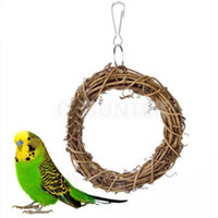 Wholesale Bird Parrot Rattan Swing Ring Hanging Pet Parakeet Budgie Cockatiel Cage Toys