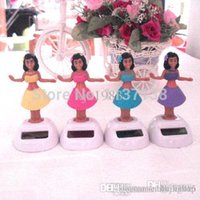 Wholesale 10 Per Dancing Under Full Light No Battery Novelty Solar Powered Hula Girl Toys Home Car Decoration