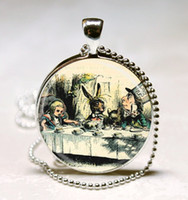 alice mad hatter - Alice In Wonderland Jewelry A Mad Tea Party Mad Hatter March Hare Fairy Tale Art Pendant with Ball Chain Necklace