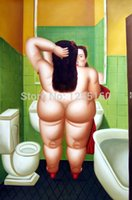 bathing mirrors - The toilet The mirror Hand painted oil painting reproductions Fat woman bathing