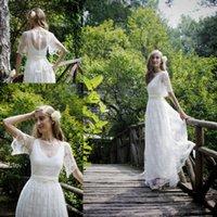 Wholesale Romantic Ivory Bohemian Wedding Dress Boho Lace Wedding Gowns with Half Sleeves Designer Wedding Dresses