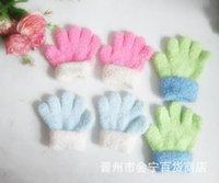 Wholesale Full child small gloves rabbit wool half finger gloves double