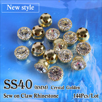 Wholesale New Style Sew on Claw Rhinestones SS40 Crystal mm with Gold claw Strass Use for Wedding Dress Full