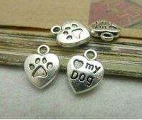 Wholesale 200pcs x13mm Antique Bronze silver Mini Heart Love My Dog Charms Pendant Free Ship