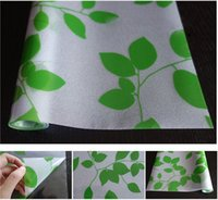 privacy window cling - No glue static cling glass privacy window film Sticker living room green leaf home decor Decals