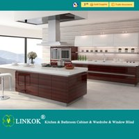 Wholesale Linkok Furniture Modern Red High Gloss UV Lacquer Kitchen Cabinet good After sales service