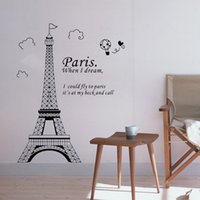 Wholesale DIY Wall Wallpaper Stickers Romantic Paris Eiffel Tower Beautiful View of France Art Decor Mural Room De Home Decorations D Sticker H11575
